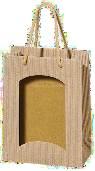 1er Tüte für Bocksbeutel, natur, Fenster